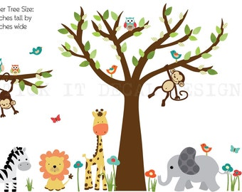 Kids Room Wall Decal, Nursery Wall Decal, Tree wall Decal, Gender Neutral, Safari Animals, Wall Stickers, XXXL Standard Jungle Design