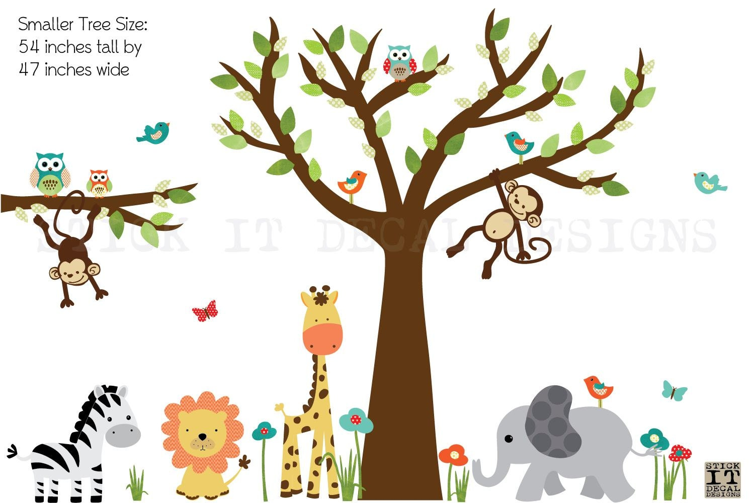 Jungle Tree Wall Decal for Kids Room by StickItDecalDesigns