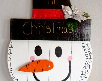 Snowman Countdown to Christmas – Wood Advent Calendar – Christmas Advent Calendar – Christmas Snowman Decorations – Christmas Wall Décor