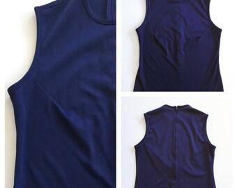 60s Mod Top - Vintage Tunic - Mod Tee Shirt Navy Blue