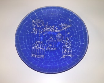 Blue mosaic with a white birdcage scene fused glass bowl