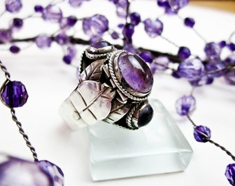 50s Poison Ring Genuine Amethysts (3) & Sterling Taxco Hallmarked, 925 Silver, Adjustable Shank, Hand Made Mexico.