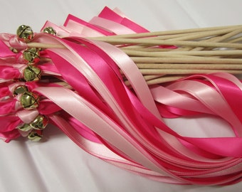 25 Triple Ribbon Wedding Wands With Bell / Pink Coral / Pink Delight / Lt.Pink