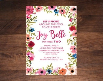 Floral Picnic Party Invitation