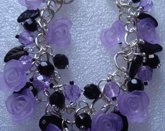 Purple Rose Charm Bracelet