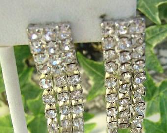 Spring Sale...Vintage RHINESTONE Earrings...Three Strands Chandelier Rhinestone Clips...Wedding Clips...Match Up Earrings