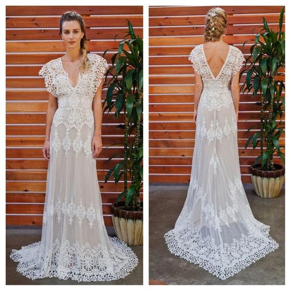 Azalea Lace Bohemian Wedding Dress Cotton By Dreamersandlovers