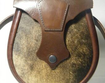Brown Masonic Key Stone Hair on Leather Ness Sporran