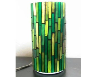 Green mosaic table lamp, stained glass lighting