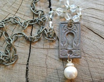 UPcycled Key Hole Necklace, Antique Brass and Crystal Rosary Bead Chain, Detailed Vintage Key Cover, Steampunk, Repurposed By UPcycled Works