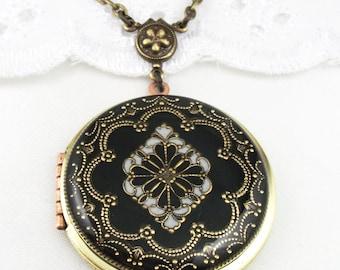 Black Filigree Locket, Vintage Locket,Filigree Diamond Locket, Photo Locket, Valentine Gift For Her,  Wedding Locket Picture Locket