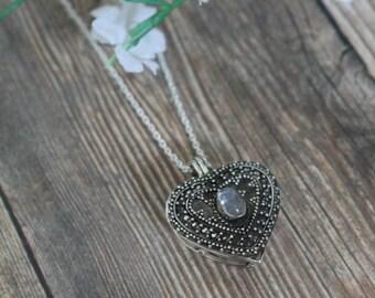 Sterling Silver Locket, Heart Locket, Silver And Rainbow Moonstone Heart Locket, Silver Wishbox Necklace, Silver Locket, Silver Necklace
