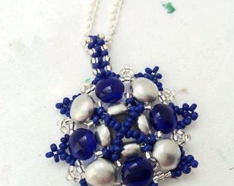 Blue and Silver Preciosa Candy Bead Mandala Pendant