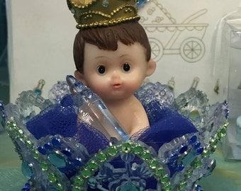Baby Boy Prince Crown Centerpiece Cake Topper Birthday Baby Shower Decoration