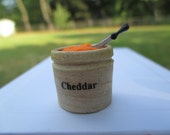 Dollhouse Miniatures - Alex Meiklejohn Stoneware Crock Filled with Cheddar Cheese & Knife