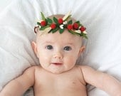 Mini Felt Ball Hair Crown - Felt Ball Hair Accessory - Holiday Hair Wreath