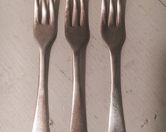 set of 3 cheese silverware vintage silver forks