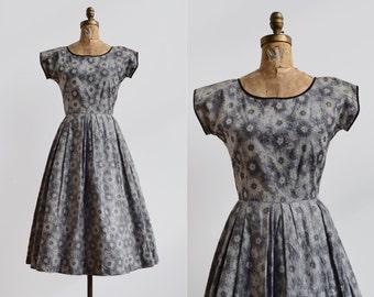 SALE Grey Gardens Dress / 1950s silk embroidered dress / vintage floral velvet dress
