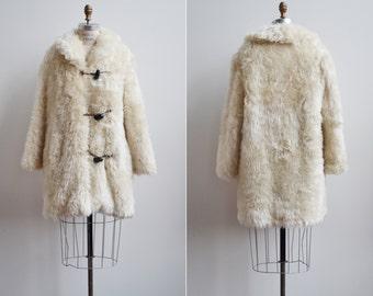 Mount Fuzz Coat / 1960s faux fur coat / vintage fur plaid coat