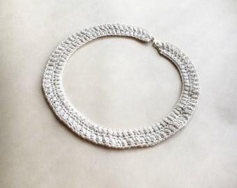 Ivory crochet choker, collar necklace