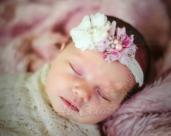 Newborn headband Pink Floral Double chiffon blossom, Newborn baby headband,chiffon little girl headbands Photo prop, Vintage headband