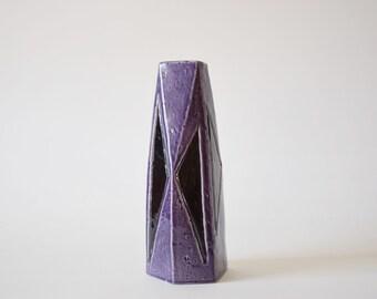 Collectible Rörstrand Sweden - FASETT- tall vase - Vilhelm Bjerke Petersen - purple & black - Swedish mid century pottery