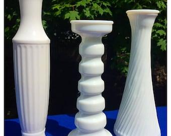 Trio of Vintage Milk Glass Flower Bud Vases, Brody Vases