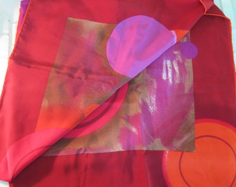 Pierre Cardin Red Purple Silk Scarf Circles Italy - Large Square Abstract Silk Scarf Circles