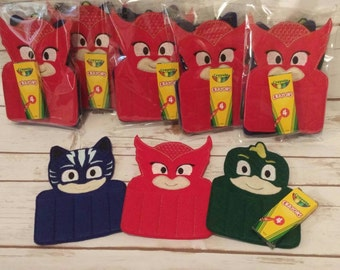 PJ Mask Crayon Holder, Handmade, Crayon Carrier, Crayola, Coloring Holder