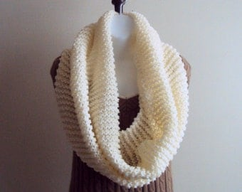 Knit Infinity Scarf Ivory/Cream Tube Scarf  Wrap Around Scarf Chunky Cowl Capelet Women Fashion Accessories Gift Ideas