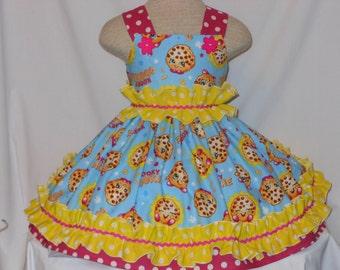 Kooky Cookie, shopkins Dress, Girls Shopkins Birthday Dress, Pageant Dress, Custom Boutique Dress, KookyCookieShopkins Dress,Unique,Handmade