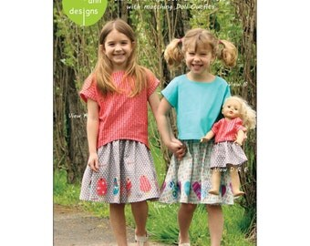 "Pattern ""Sadie"" Tops and Skirt & 18"" Doll dress Paper Sewing Pattern by Olive Ann Designs (OAD99)"