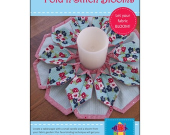 """Pattern """"Fold'n Stitch Blooms"""" (PQD-211) by Poorhouse Quilt Designs Paper Pattern Instructions"""