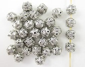 30pcs Round Dots Silver Plated Beads (F2120)