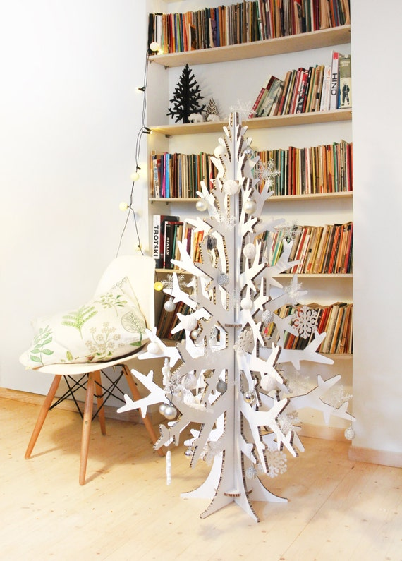 132 cm 43 white cardboard laser cut christmas tree holiday home and office decoration - Flat Back Christmas Tree