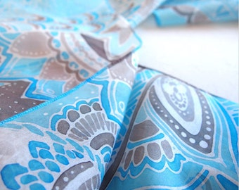 Doodle scarf - silk scarf - blue scarf - long scarf - hand painted silk scarves - floral scarf - scarf handpainted