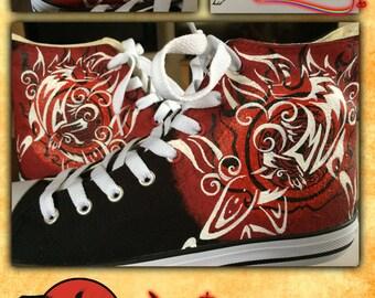 Custom Painted Canvas Hi Tops Okami Shoes