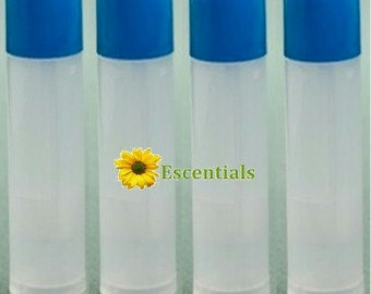 Natural Lip Balm Tube w/ Ocean Blue Cap - 10 Pack