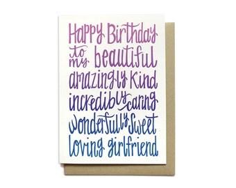 Girlfriend Birthday Card - Happy Birthday to my Beautiful Girlfriend