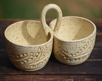 stoneware two bowl condiment server