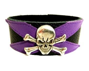 Purple bracelet, skull bracelet, skull leather bracelet cuff, leather wristband, leather bracelet cuff, skull cuff, purple and black.