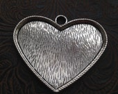 25-4-AS  Heart Large Bezel CarbachonSetting pendant dish or tray Mosaic supplies Heart Frame 61x51mm 1 piece