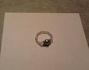 Size 8 light  Silver Pearl & Clear Bicone Ring (Stretch Ring)