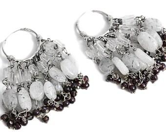 Earrings Tourmaline Quartz Silver Garnet Jewelry