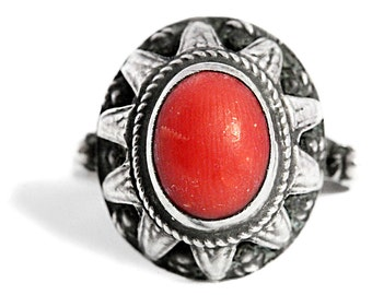 Red Coral Antique Ring Art Nouveau Jewelry Silver