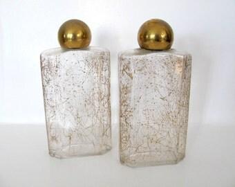 Vintage Glass Bottles, 1960's Gold Fleck Bottles, Bath Oil, Cologne Bottles, Decorative Bottles, 1960's, Bathroom Decor