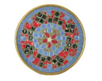 Mid Century Modern Mosaic Dish, 1960's Mosaic Tile Plate, Dish, Vintage Mosaic Decor, Trinket, Key, Ring Dish