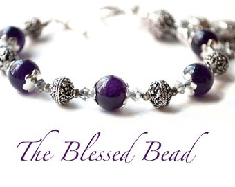 Saint Catherine of Sweden Amethyst Rosary Bracelet, Patron Saint of Those Who Have Suffered a Miscarriage, Catholic Jewelry, Uplifting Gifts