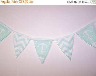 SALE Fabric Bunting. Flags. Banner. Wedding Banner. Party Banner. Baby Shower Bunting. Wedding  Bunting. Mint Green Bunting. Ready To Ship