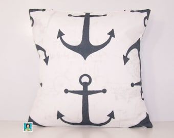 Gray Anchor Outdoor Pillow - Gray PILLOW - Lumbar - Various Sizes - Grey Pillow Cover - Accent Pillow - 20x20,18x18,22x22